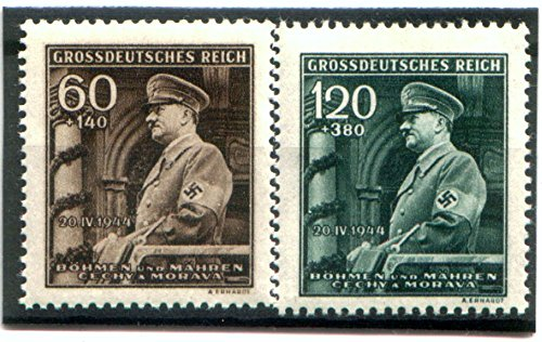 2 RARE ORIGINAL WW2 NAZI-OCCUPIED MORAVIA STAMPS w HITLER in UNFORM SPEAKING AT PRAGUE CATHEDRAL! MINT -