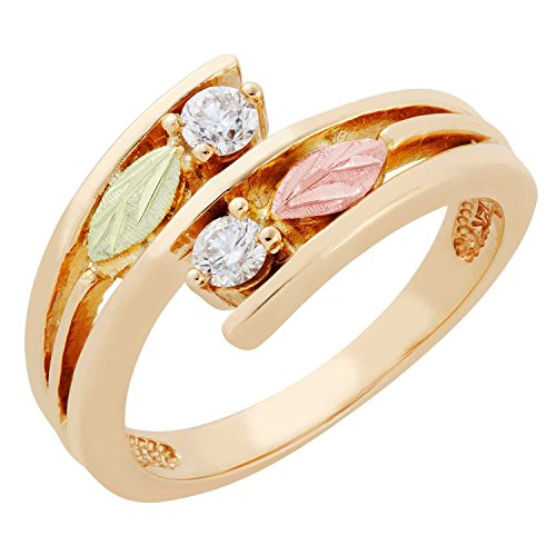 (Tri-Color Bypass Diamond Ring, 10k Yellow Gold, 12k Green and Rose Gold Black Hills Gold Motif 8)