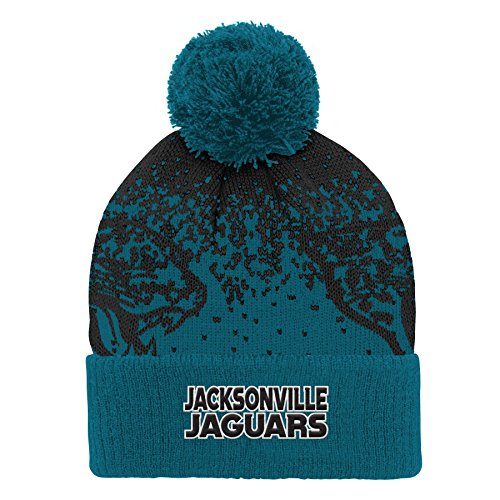 NFL Jacksonville Jaguars Youth Boys Gradient Jacquard Cuffed Knit Hat Black, Youth One Size