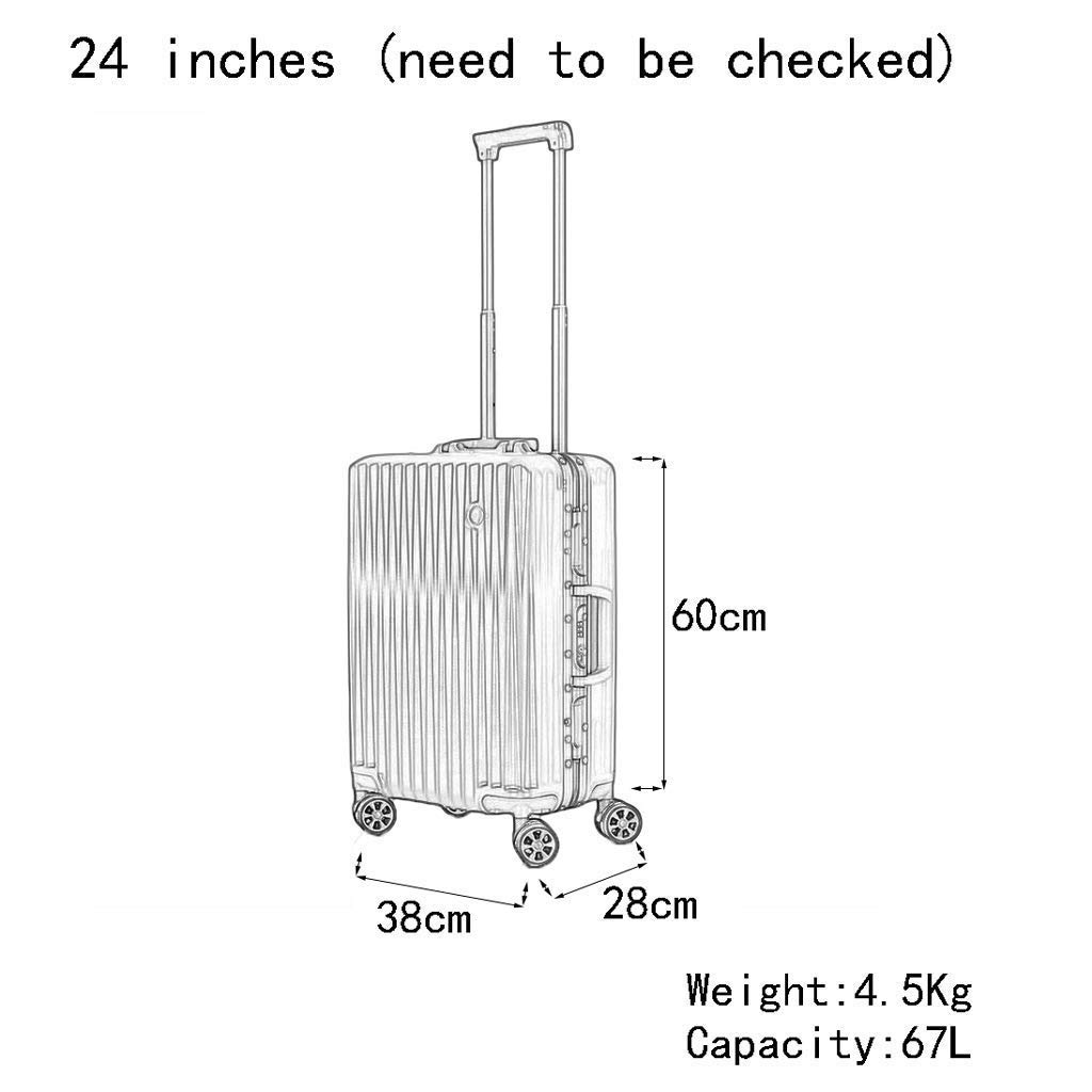 Color : Red, Size : 24 inches Male and Female Lightweight ABS Portable Consignment Suitcase Trolley Case Lock 4 Wheels CLOUD Luggage Sets Travel Suitcase