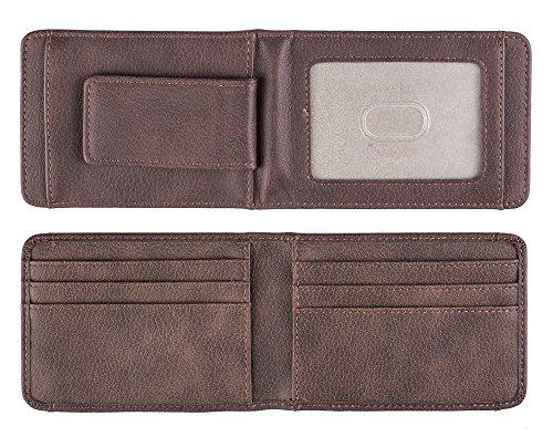 Paragon Money Clip Credit Card Holder Front Pocket Wallet RFID Blocking Strong Magnet Slim Minimalist Wallet (Brown) (Magnetic Money Clip Card)