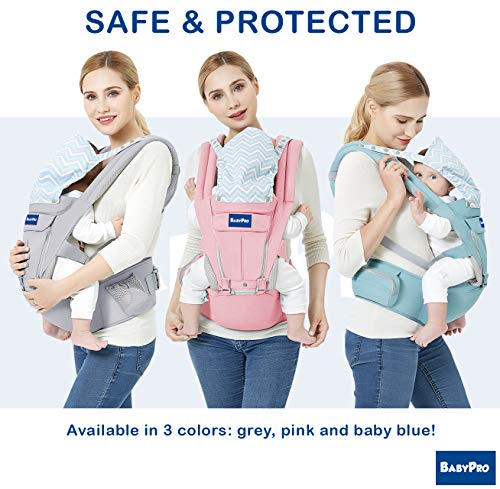 BabyPro 360 Baby Carrier with Hip Seat, 9 Ergonomic & Safe Positions for Newborns Infants & Toddlers, Truly Hands Free Front and Back Carrier Perfect for Traveling, Hiking and Easy Breastfeeding