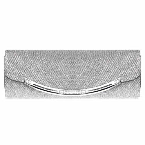 Silver Solid Handbag (Evening Clutch, FASHIONROAD Womens Glitter Crystal Clutch Purse For Wedding And Party Silver)
