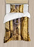 Ambesonne Gothic Duvet Cover Set Twin Size, Dark Stone Ancient Street Spain European Horror Dark Evil Renaissance Medieval Art Photo, Decorative 2 Piece Bedding Set with 1 Pillow Sham, Beige