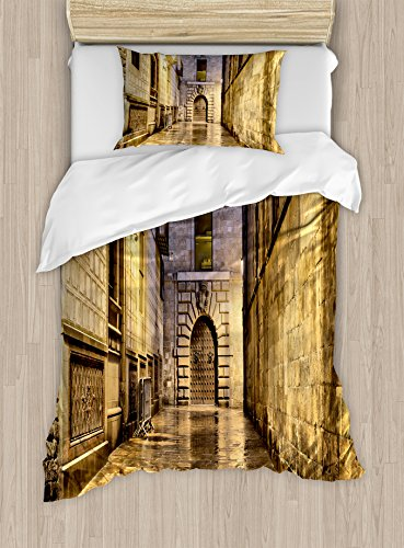 Ambesonne Gothic Duvet Cover Set Twin Size, Dark Stone Ancient Street Spain European Horror Dark Evil Renaissance Medieval Art Photo, Decorative 2 Piece Bedding Set with 1 Pillow Sham, Beige by Ambesonne