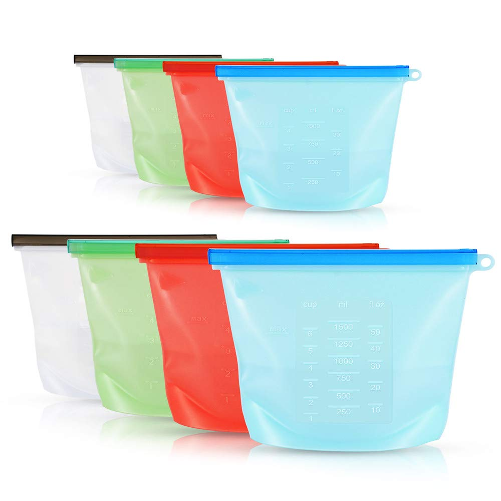 Reusable Silicone Food Storage Bag,Difenlun Airtight Zip Seal Cooking Bags-Preservation Bag for Vegetable Liquid Snack Meat Lunch Fruit,FDA Grade (4-Medium&4-Large)