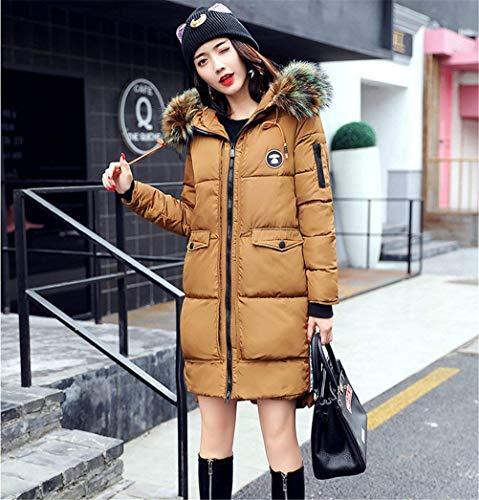 Elégante Capuchon Jeune Femme Fashion Chic Gelb Coat Manteau Parka Hiver Jacken Fourrure Longues Épaissir Doudoune Outdoor Warm Manches Avec qBpaCzxw6w