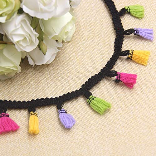 - Laz Tipa - 5Yard 40MM Colorful Polyester Lace Trim Ribbon Tassel Fringe Ribbons DIY Sewing Crafts Accessories Home Party Decoration