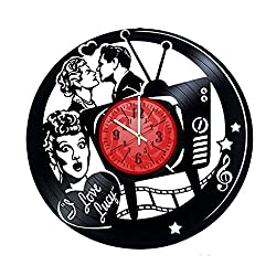 I LOVE LUCY Vinyl Record Wall Clock - Get unique Garage wall decor - LOVE- Gift ideas for friends, teens – ROCK n ROLL MUSIC Unique Art gift for girls gift for boys gift for men gift for women