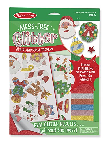 Music Themed Christmas Trees - Melissa & Doug Mess-Free Glitter Christmas Stickers - 26 Foam Stickers, 8 Glitter Sheets