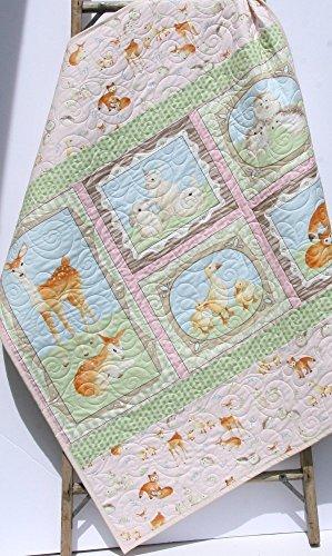 Baby Quilt, Fawn Deer Woodland Forest Animals, Toddler Blanket, Nursery Baby Bedding, Birch Forest Quilt, Girl Bedding, Pastel Woodland Quilt