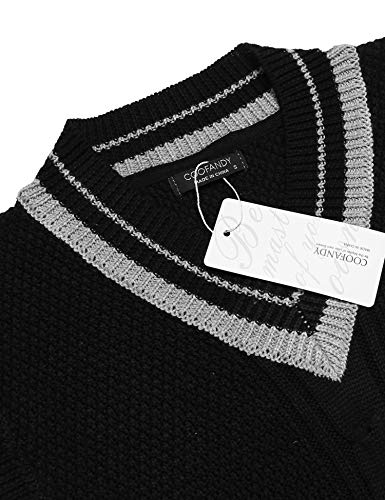 COOFANDY Men's Casual Knit Cotton Pullover Sleeveless Sweater Waistcoat Vest,Black,Medium by COOFANDY (Image #3)