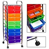 10 Pull Out Translucent Multi-Color Drawers Steel Frame Mobile Organizer