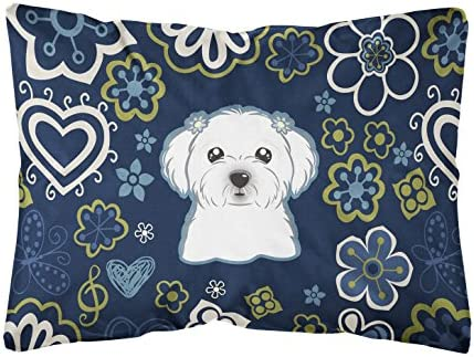 Caroline's Treasures BB5059PW1216 Blue Flowers Maltese Canvas Fabric Decorative Pillow
