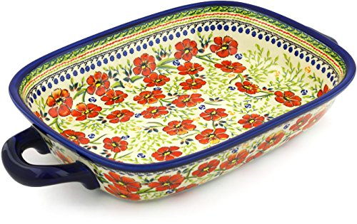 Polish Pottery Rectangular Baker with Handles 18-inch Amazing Concept UNIKAT by Polmedia Polish Pottery