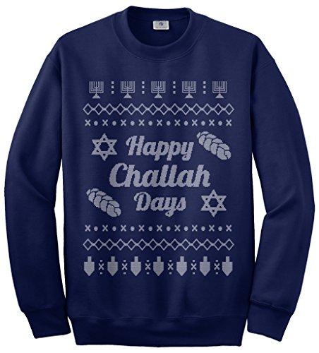 Threadrock Happy Challah Days Ugly Sweater Unisex Sweatshirt M Navy Jew Christmas Sweater