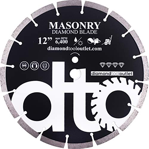 "dto SGP12P 12-Inch Premium Diamond Segmented Saw Blade for General Purpose, Masonry, Concrete, Brick, 1-Inch Arbor, Wet or Dry Cutting, 6400 Max. RPM, 12mm (.472"") segment height"