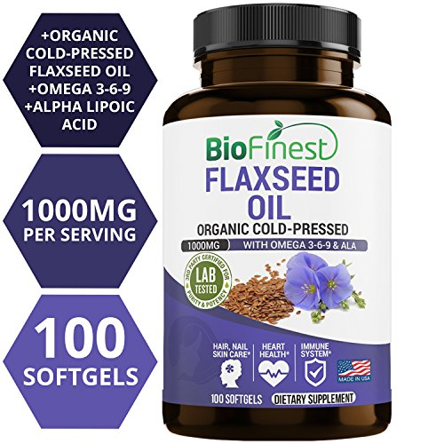 Biofinest Organic Flaxseed Oil Supplement – 1000mg with Omega 3-6-9 & Ala – 100% Organic Cold-Pressed – for Heart Health, Immune Support, Healthy Skin, Nails & Hair (100 Liquid Softgels Capsules)