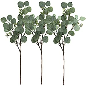 "Supla 3 Pcs Faux Eucalyptus Leaves Spray Artificial Seeded Silver Dollar Eucalyptus Leaves Branches in Grey Green 25.5"" Tall Artificial Eucalyptus Spray Greenery Wedding Eucalyptus Holiday Greens 44"
