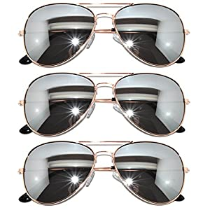 3 Pairs Classic Aviator Style Sunglasses Metal Frame Colored Lens (avi-3p-gold-silver-mirr, Colored)