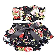 Glabloomer Baby bloomer and bow headband set with big bow diaper covers