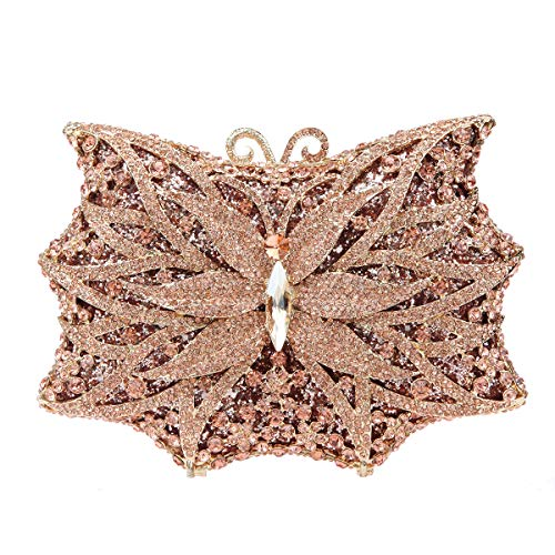 Gold For Shining Blue Bonjanvye Ladies Handbags Butterfly Bag Shape Clutch Rose Purse Evening 1T7wRq4