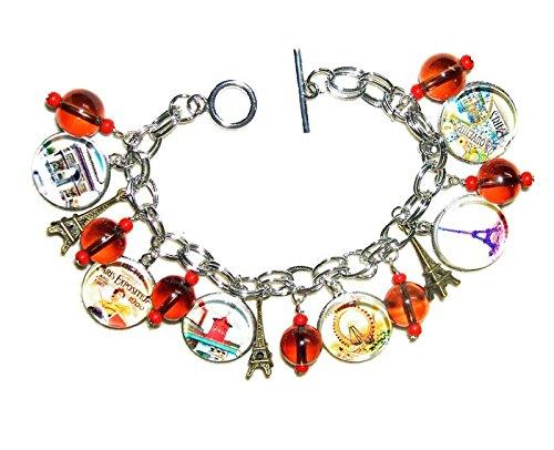 VINTAGE PARIS Charm Bracelet Altered Art OLD FRANCE TRAVEL Postcards with GLASS Beads