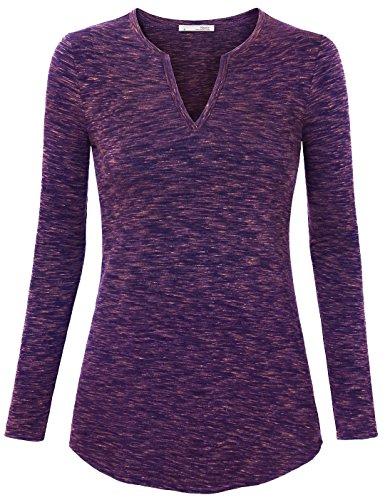 Flower Yarn, Messic Women's Long Sleeve V-Neck Shirt Collar Casual Novel Design Blouse Tops Dark Blue,Medium (Air Blue Knit Shorts)