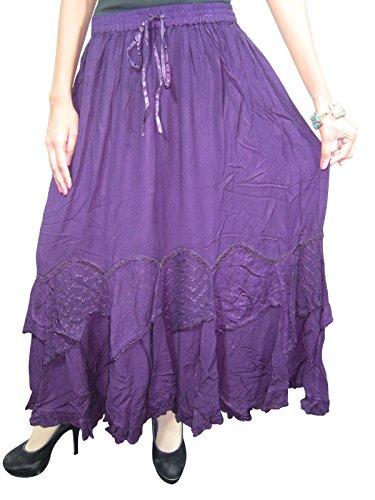Boho Maxi Skirt Purple Embroidered Long Skirt Peasant Gypsy Skirts for Woman
