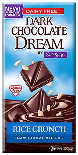 Dream Chocolate Bar - SunSpire Dream Dark Chocolate Bar, Rice Crunch, 3 Ounce (Pack of 12)