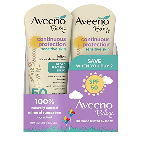 Aveeno Baby Continuous Protection Zinc Oxide Mineral Sunscreen Lotion With Broad Spectrum SPF 50, 6 Fluid Ounce