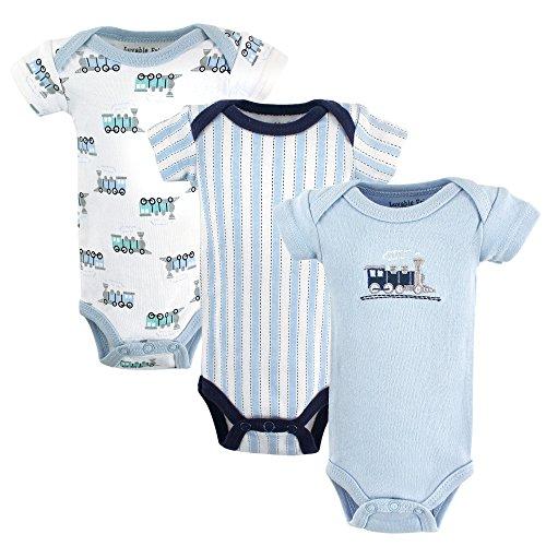 Luvable Friends Baby Preemie Bodysuit, 3 Pack, Train,