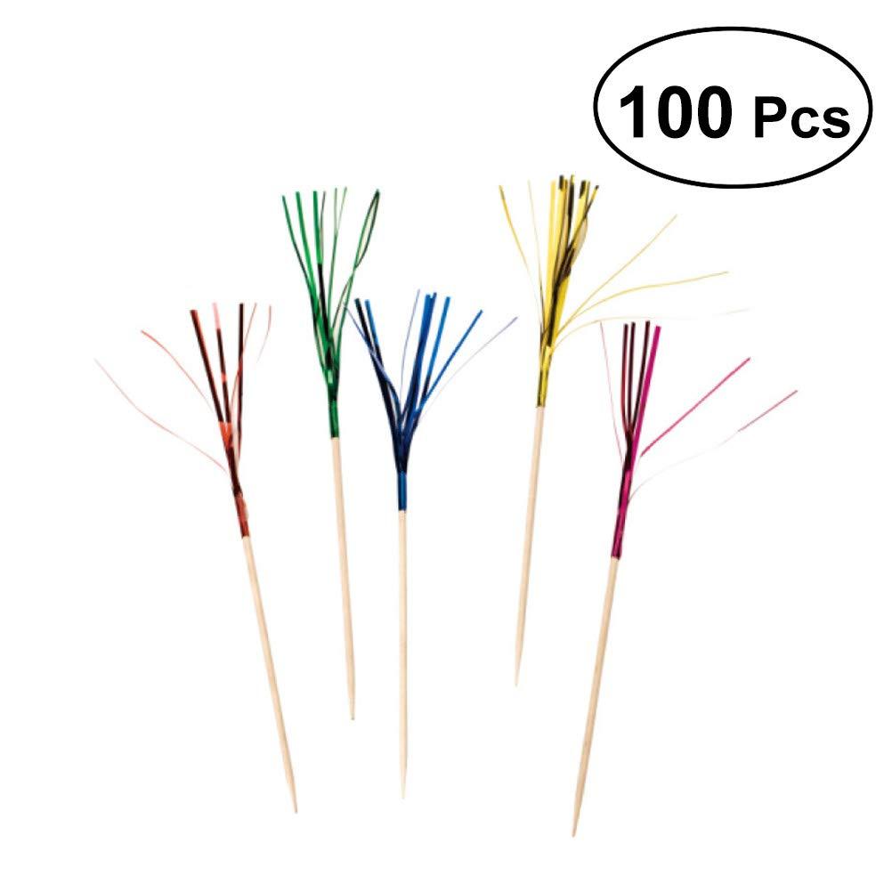 bestonzon 100Feuerwerk Cocktail Sticks Bambus Obstkorb Picks Einweg Lebensmittel Vorspeise Zahnstocher (zufällige Farbe)