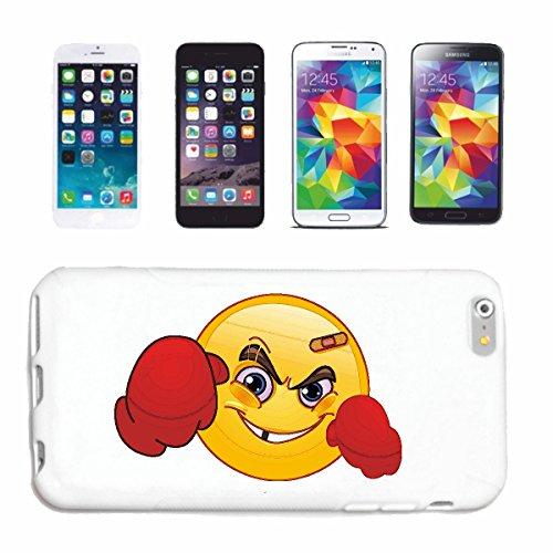 "cas de téléphone iPhone 4 / 4S ""SMILEY LES CASES AS BOXER ""SMILEYS SMILIES ANDROID IPHONE EMOTICONS IOS grin VISAGE EMOTICON APP"" Hard Case Cover Téléphone Covers Smart Cover pour Apple iPhone en blan"
