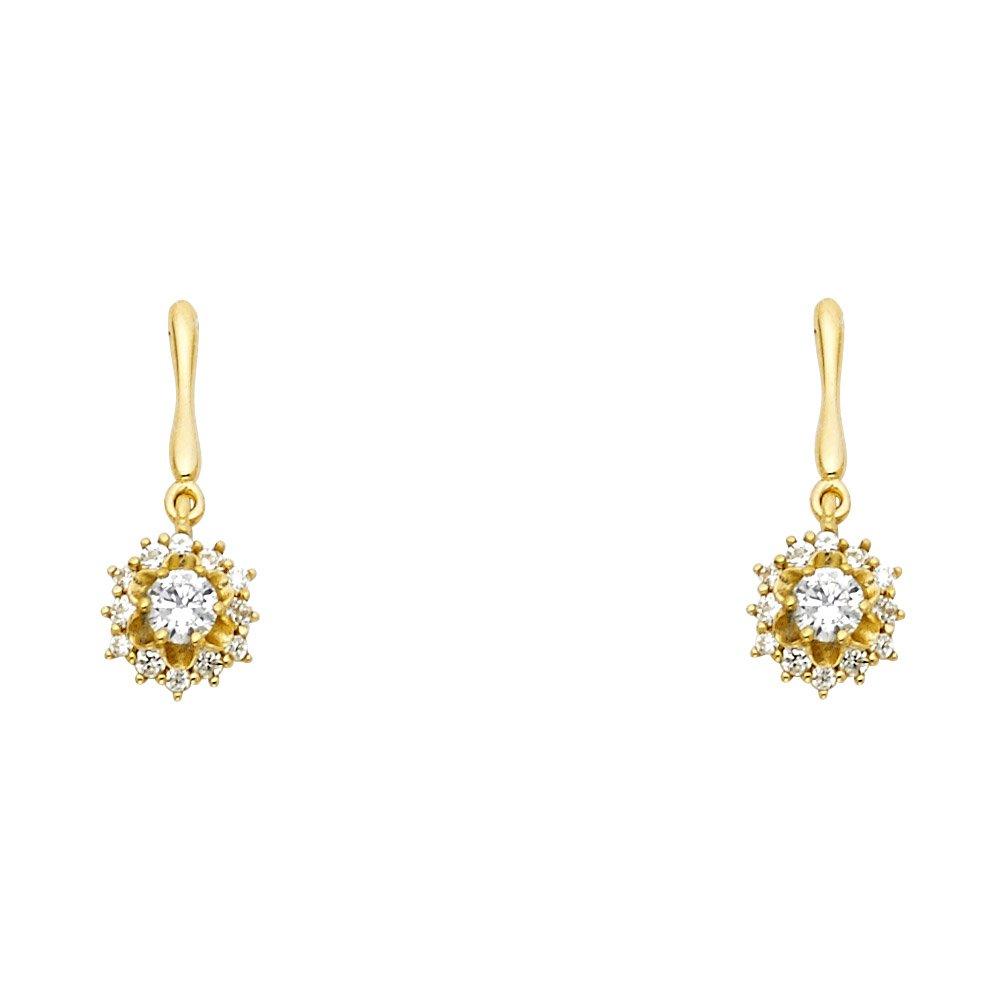 Wellingsale 14K Yellow Gold Polished Dangle Stud Earrings With Screw Back