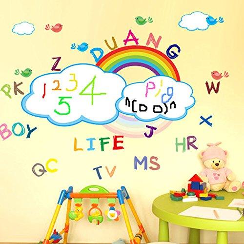 Kids Rainbow Room Decor - Rainbow Wall Stickers - Kids Room Decor Rainbow Printable Wall Stickers Washable Rainbow White Board Wall Sticker (Rainbow Baby Stickers) -
