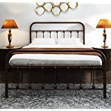 TEMMER Metal Bed Frame Full Size with Headboard and Stable Metal Slats Boxspring Replacement/Footboard Single Platform Mattress Base,Metal Tube and Antique Brown Baking Paint.