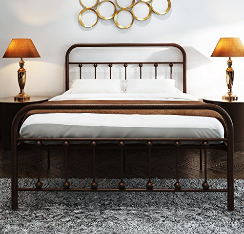 (TEMMER Metal Bed Frame Full Size with Headboard and Stable Metal Slats Boxspring Replacement/Footboard Single Platform Mattress Base,Metal Tube and Antique Brown Baking Paint)