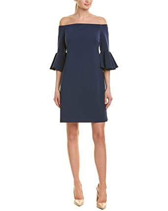 fb6b47346a Vince Camuto Womens Bell Sleeve Off The Shoulder Crepe Ponte Dress Ink Blue  XS