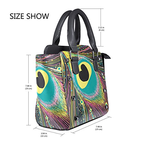 Messenger Crossbody Leather For Women Bird Peacock Colorful Bags Single Bag Top Handle Handbags Tote LIANCHENYI Feather Shoulder PU px67q5A