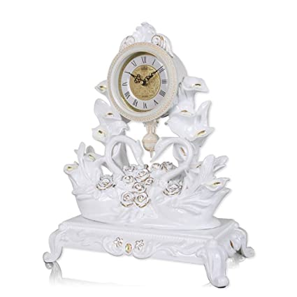 Mieoson Multi-function wall clock European-style Swan Pendulum Clock Desk Clock Living Room Decoration Table Clock Bedroom Bedside Table Clock Color : White Color : White