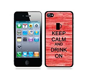 Keep Calm And Drink On Red Wood - Protective Designer BLACK Case - Fits Apple iPhone 4 / 4S / 4G