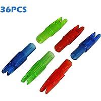 RollingBronze 36 Piezas de Flecha Nocks con Pin de Aluminio para ID 6.2 mm Flecha Eje de Bricolaje Pieza de Tiro con Arco