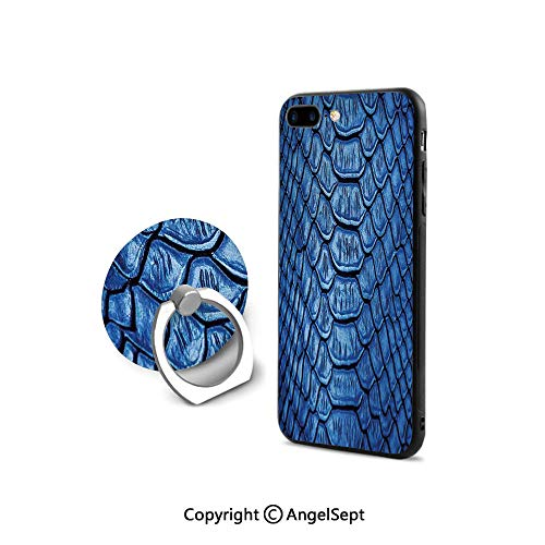iPhone 7/8 Case with 360°Degree Swivel Ring,Colored Snake Skin Pattern Alligator Fancy Luxury Leather Clothing Artwork Home Decor,Durable Soft ()
