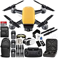 DJI Spark Portable Mini Drone Quadcopter (Sunrise Yellow) + DJI Spark Remote Controller EVERYTHING YOU NEED Ultimate Bundle