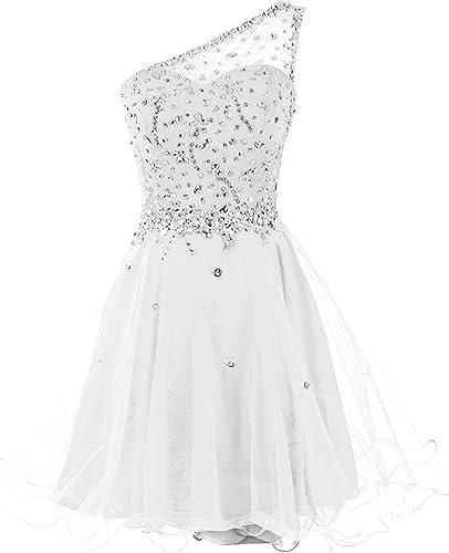 ISABUFEI sukienki koktajlowe sukienki na zakończenie One Shoulder krÓtkie tiulowe sukienki na imprezę wycięcie w kształcie serca z perłami: Odzież