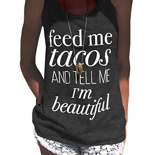 Fheaven Womens Feed Me Tacos Vest Sexy Sleeveless Vest Blouse T-Shirt Tank Crop Tops (M, Dark Gray) - Taco Shirt Button Down