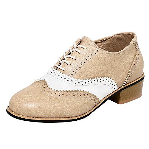 Carolbar Womens Lace Up Assorted Colors Retro Vintage Low Heel Oxfords Shoes Beige + White