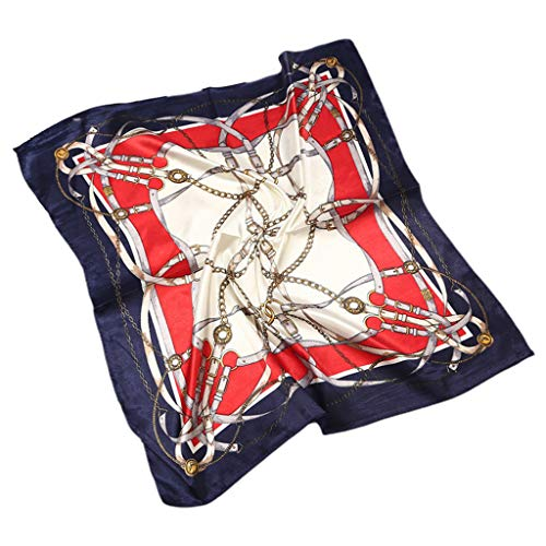 Danyerst Palace Style Twill Satin Women Square Scarf, Luxury Metal Chain Print Neck Shawl Kerchief Headwrap Shawl Handbag]()