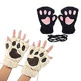 2 Pcs Women Bear Plush Mitten Cat Paw Claw Gloves (B-2pcs(Beige+Black))